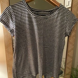 A&F Navy and white striped tee